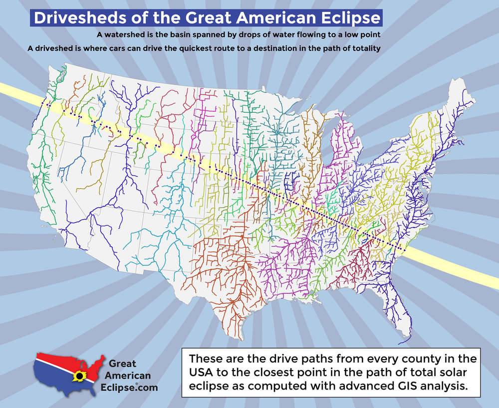Driveshed map for the Great American Eclipse