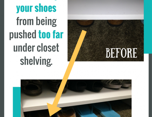 Hidden Shoe Hack. How to keep your shoes from being pushed too far under closet shelving