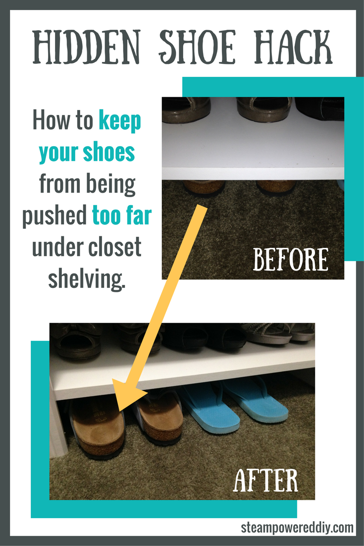 hidden shoe hack to keep shoes from being lost under closet shelving